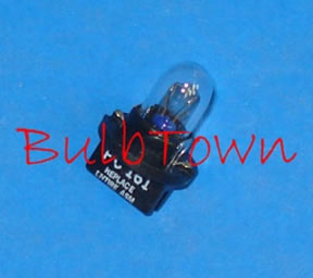 "#PC161 MINIATURE BULB PRINTED CIRCUIT BASE - 14 Volt .19 Amp T3-1/4 Printed Circuit Base Miniature Bulb, 2.66 MSCP C-2F Filament Design, 4,000 Average Rated Hours. 1.11"" Maximum Overall Length"